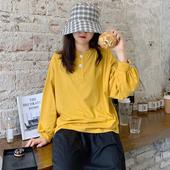 纽扣上衣学生 宽松百搭休闲套头个性 简约纯色长袖 t恤女2019秋新款图片