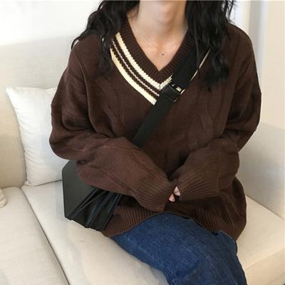学院风V领拼色麻花毛衣女秋装新款韩版chic百搭宽松长袖上衣外套