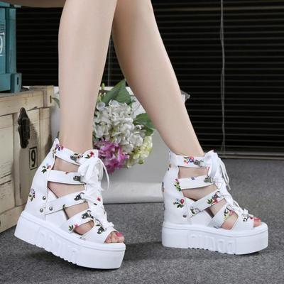 夏天女鞋子高跟鞋内增高松糕鱼嘴网纱坡跟凉鞋女厚底夏季学生百搭