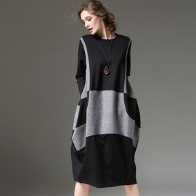 2018春装新款欧美中长裙长袖针织连衣裙女装大码宽松灯笼显瘦裙子