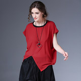 2019 summer new Korean black loose head women's chiffon shirt summer short-sleeved large size wild shirt female tide