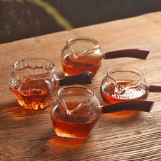 Hammer head pattern thickening transparent glass fair cup Japanese hand side of the large heat well tea cup tea points
