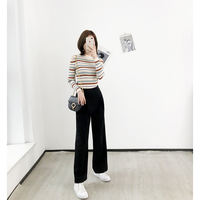 K sister homemade casual trousers two-color optional solid color chaos double insert bag straight long leg suit pants women
