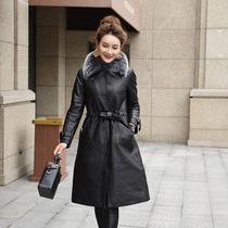 冬季大码羽绒服外套女士韩版修身中长款外套女休闲绵羊皮真皮外套
