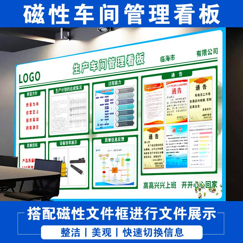 办公室文化墙 工厂车间生产5s管理业绩进度看板磁铁设计制作定制
