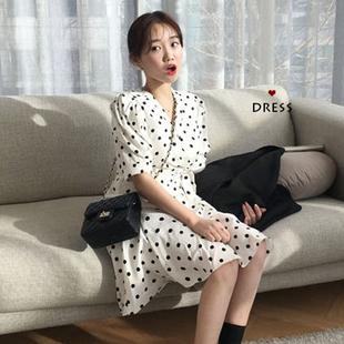 韩国chic 夏日新款复古波点优雅法式V领高腰显瘦系带连衣裙女短裙