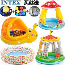 加厚游泳池钓鱼池充气海洋球池宝宝戏水池婴儿泳池家用带滑梯泳池图片