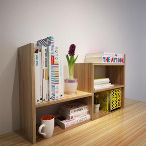 两三层办公桌面书架竹易学生桌上书架约小置物架创意实木书柜
