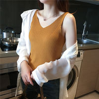 V-neck camisole female summer ice silk knit black white carefully machine bottoming shirt sleeveless shirt outside wear tide