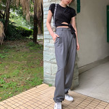 Suit pants 2019 spring new fashion temperament high waist loose thin wide leg casual trousers women