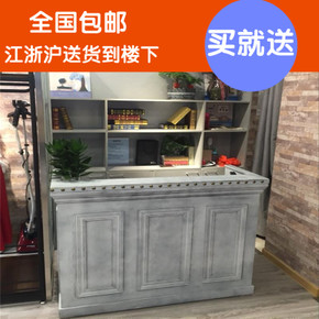 复古怀旧收银台小型服装店柜台欧式简约前台实木做旧童装店吧台