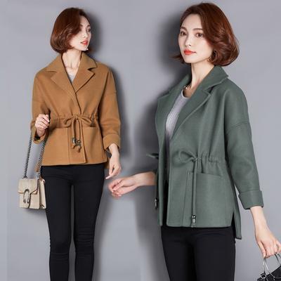 2018春季新款韩版女装小个子毛呢外套女短款修身显瘦系带呢子大衣
