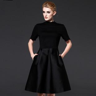 歐貨打底連衣裙秋半高領有袖裙大碼中長款氣質淑女a型赫本小黑裙