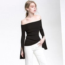 Sexy long-sleeved sweater with shoulder-length sweater Chun