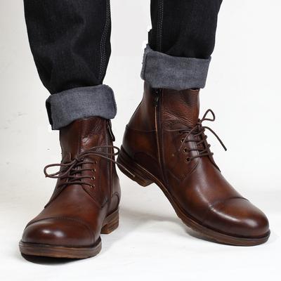 英伦风复古做旧擦色手工鞋 新款 真皮马丁靴潮流军靴皮靴软底短靴子