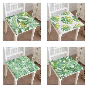 夏季清新热带绿色植物椅垫 棉麻坐垫椅子板凳垫防滑椅子垫餐椅垫