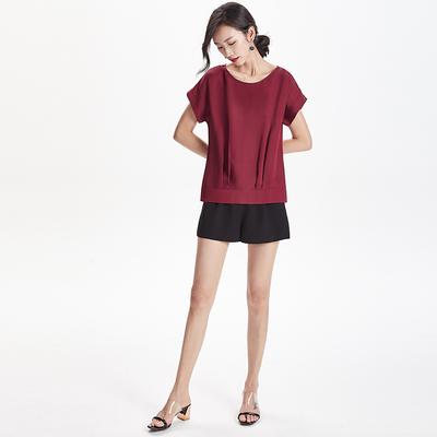 之梵2018夏新款重乔真丝纯色短袖衬衣桑蚕丝T恤上衣不规则体恤女