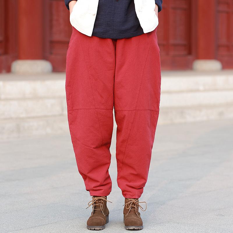 原创冬季新款棉麻松紧腰休闲长裤女复古宽松保暖棉靴裤小灯笼棉裤