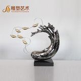 Modern abstract floor-to-ceiling simple glass and steel electroplating sculpture ornaments furnished KTV home indoor sculpture decoration