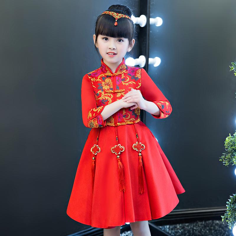女童旗袍秋冬装加绒连衣裙儿童公主裙中国风拜年服新年装唐装汉服