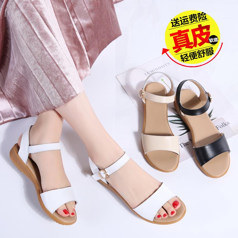 2019新款舒适防滑凉鞋女夏平底坡跟中年妈妈凉鞋简约真皮软底鞋子