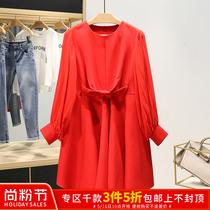 容●袖口红色圆领宽松大码孕妇装时尚品牌折扣女装2019春连衣裙