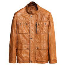 帅气 修身 春秋植鞣羊皮立领修身 韩版 皮衣男 青年皮夹克 真皮 薄款图片