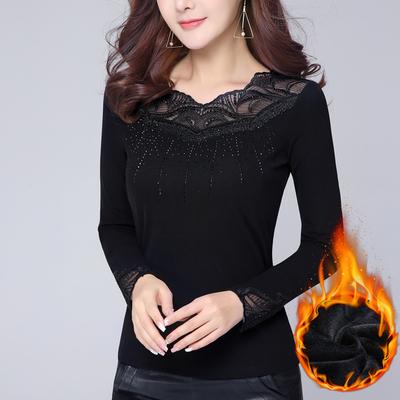汉城衣恋2018新款冬装女 蕾丝花边V领加绒加厚打底衫大码小衫t恤