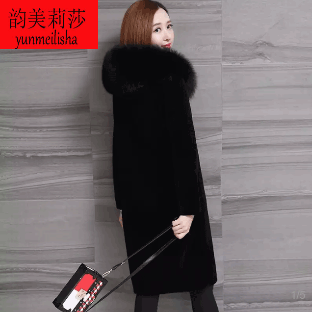 Haining new sheepskin fur coat female long paragraph fox fur collar wool coat with
