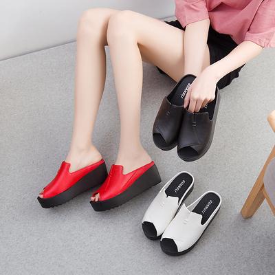 2018欧美时尚女生拖鞋松糕底高跟凉鞋鱼嘴鞋舒适防水台坡跟凉拖女