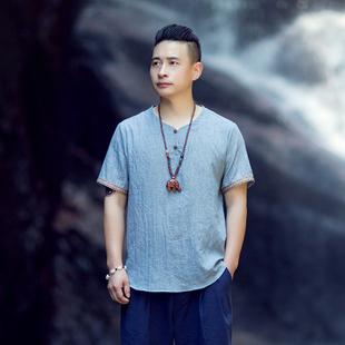 相予男装夏季中国风轻羽薄款T恤休闲复古体恤宽木扣圆领短袖凉T恤