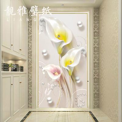 新中式简约浮雕3d立体玄关壁纸客厅过道壁画酒店竖版墙纸墙布