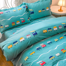 Four Kids Set Boys Cotton Cartoon Bed Sheets Three Kinds Set 1.2m Student Bedding Bed Cover 1.5m Bed