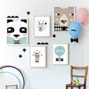 北欧简约卡通儿童房装饰画小清新卧室床头挂画个性照片墙有框壁画