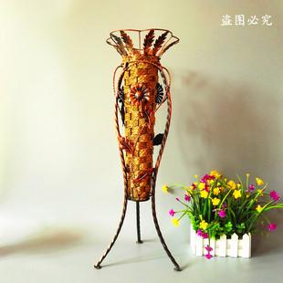 欧式仿真花瓶家居大号花器摆件客厅落地干花假花花束装饰套装藤编