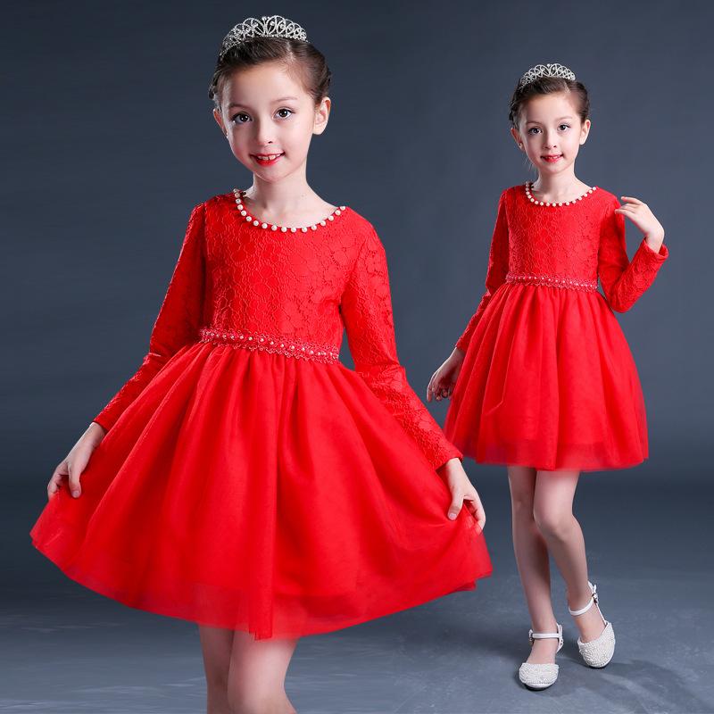 秋冬大红色公主裙