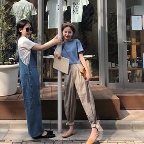 FFAN泛泛 格子裤女秋季2018新款宽松高腰休闲长裤格纹显瘦小脚裤
