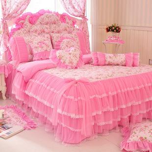 纯棉韩版公主 全棉梦幻床裙3四件套粉色婚庆床上用品蕾丝被套包邮