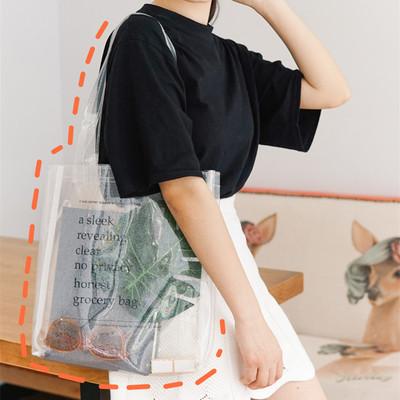 奶茶熊*ins简约透明金葱粉字母单肩包学生夏季运动休闲手提包文艺