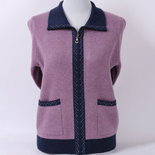 Elderly autumn women 60-70 years old sweater cardigan mother loaded zipper shirt grandma loaded sweater coat clothes