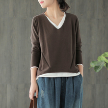 Small ear products 2019 spring new style cotton fake two-piece double-layered loose casual daily sweater women