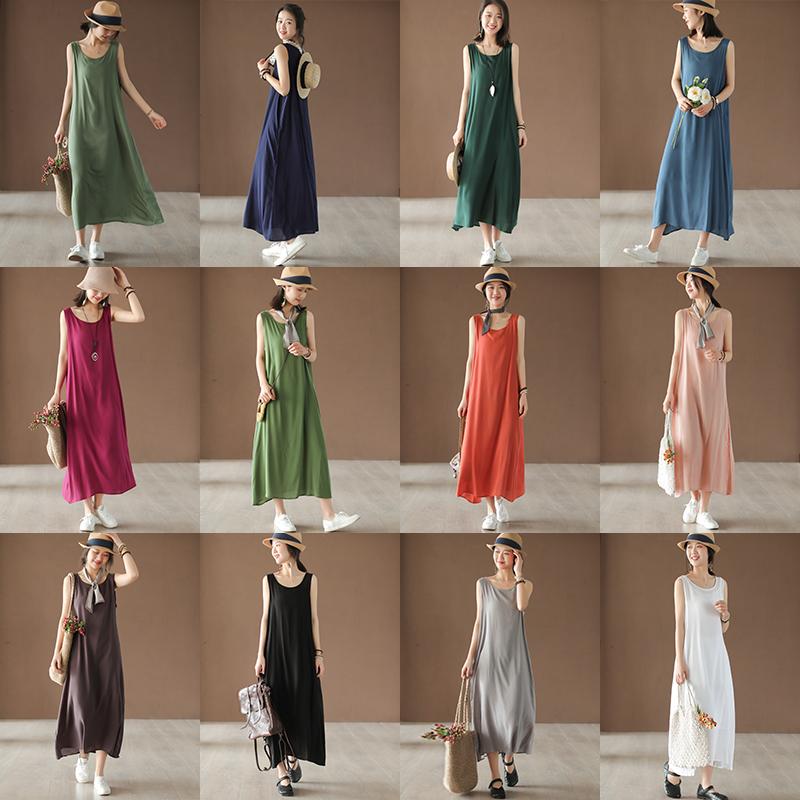 小耳出品原创设计多色人棉背心裙夏款女装吊带裙仙气连衣裙内搭新
