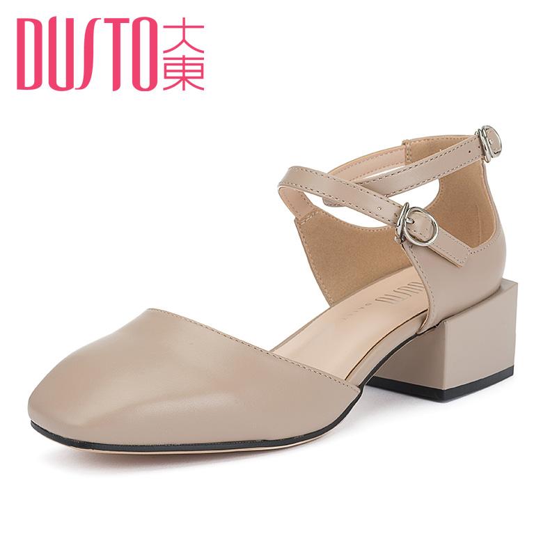 大东女鞋2018春季新款时尚韩版中跟粗跟一字扣方头学生单鞋8C1100