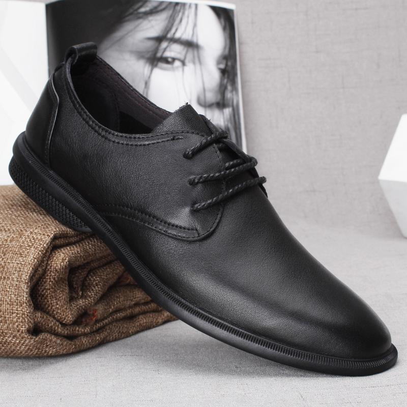 秋季亚博体育app下载男士商务休闲皮鞋头层牛皮系带舒适软面软底单层牛皮男鞋