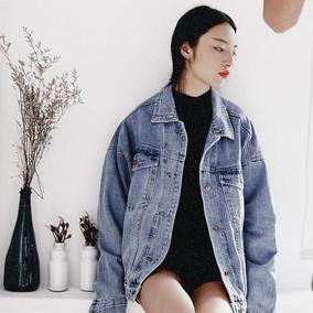 【SONG】定制韩版秋季新款宽松显瘦中长款做旧大码牛仔外套上衣女