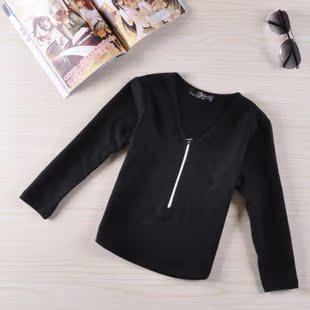 2013新款大童装秋季中童韩版V领长袖t恤男童女童体恤儿童打底衫潮