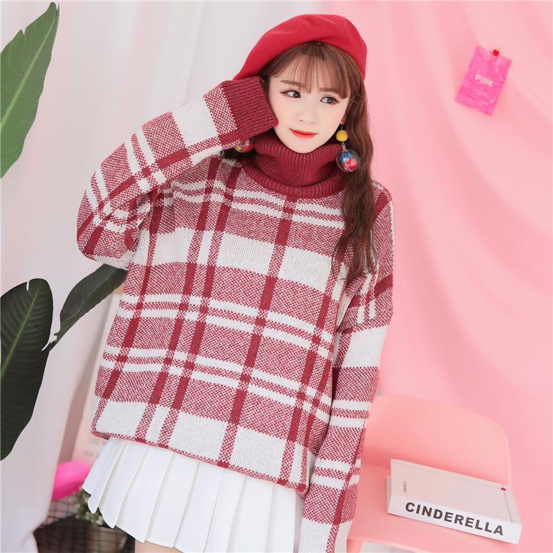 红色圣诞高领加厚女冬2017新款网红格子中长款宽松外套潮套头毛衣