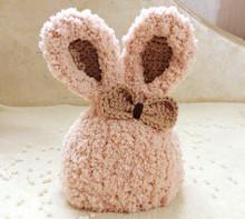 6个月婴儿宝宝绒绒毛线帽1岁幼儿童卡通小兔冬厚暖棉帽子 手工0
