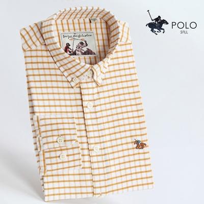 保罗皇家牛津纺全棉衬衫男长袖纯棉厚商务休闲格子修身型衬衣男士