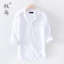 极麻日系七分中袖休闲亚麻衬衫男士小清新立领大码宽松棉麻料衬衣